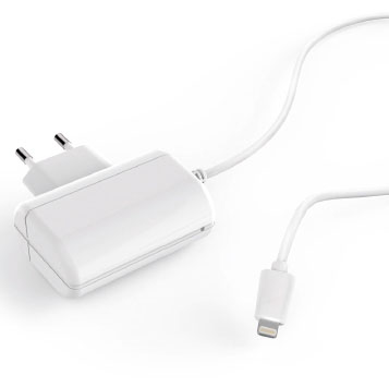 TAP-118W (White) Apple lightning plug with captive cable wall charger