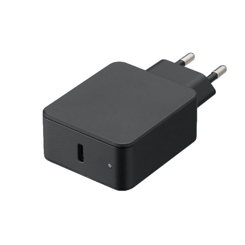 TAD-A18B (Black) Compact Type-C LED wall charger with 18W power delivery