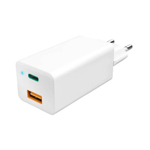 65W Travel Charger GaN, USB-C Power Delivery (PD) + USB-A QC3.0,