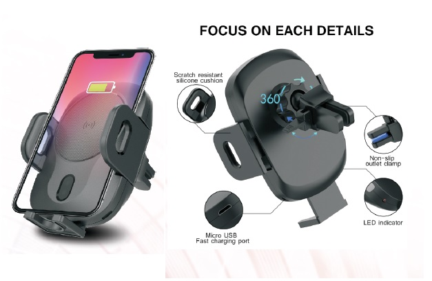 Wireless Car Charger Mount, Auto-Clamp 10W