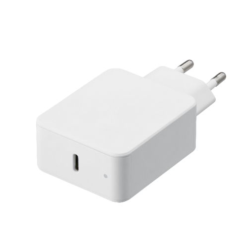 TAD-A18 (White) Compact Type-C LED wall charger with 18W power delivery