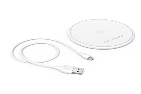 TAW-107 Ultra slim fast wireless charger with micro USB charge sync cable (WHT)